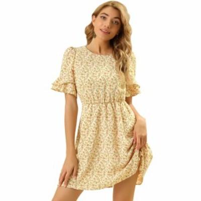 Allegra K ミニワンピース ドレス ラッフル 半袖 ウェストゴム Aライン 花柄 フローラル レディース イエロー XL