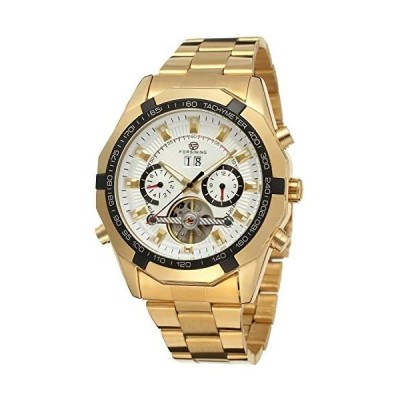 Forsining メンズ 自動巻き 機械式 透明 クリスタル トゥールビヨン 腕時計 カラー ホワイト