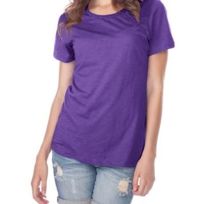 レディース 衣類 トップス Kavio! Women Slub Jersey Crew Neck Short Sleeve Grape S Tシャツ