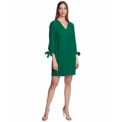 セセ レディース ワンピース トップス 3/4 Tie Sleeve V-Neck Dress Lush Green