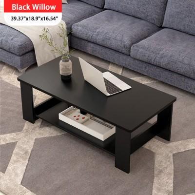 [ブラック]二層コーヒーテーブルモダンなラップトップデスクリビングルームスクエアテーブルライティングスタディテーブル収納ラック本棚