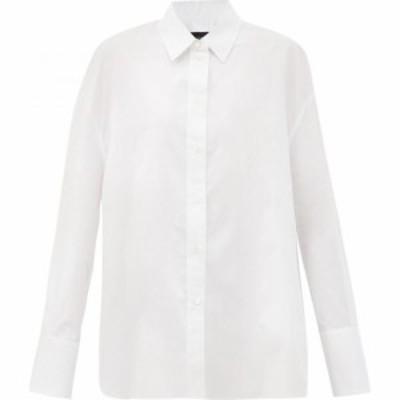 ジョゼフ Joseph レディース ブラウス・シャツ トップス Dropped-hem cotton-poplin shirt White