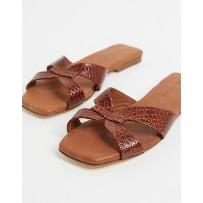 ホイッスルズ レディース サンダル シューズ Whistles tabitha leather flat slider in tan Tan