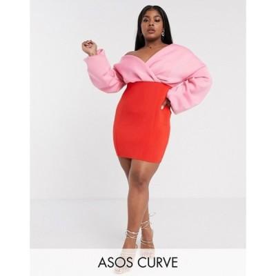 エイソス レディース ワンピース トップス ASOS DESIGN Curve fallen shoulder pleated puff sleeve pencil contrast mini dress in red & pink