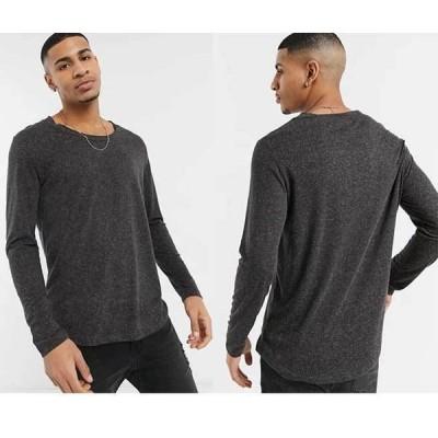 エイソス シャツ Tシャツ ロング ASOS リネンスクープネックロングライン長袖Tシャツ