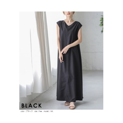 【la-gemme】ウエストベルト前後2Wayノースリーブワンピース (ワンピース)Dress