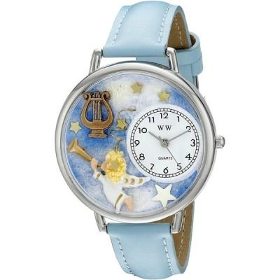 天使とハープ 水色レザーバンド シルバーフレーム 腕時計#U0710004
