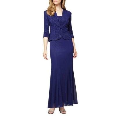 アレックスイブニングス レディース ワンピース トップス 2-Piece Long Jacquard Knit Jacket Dress