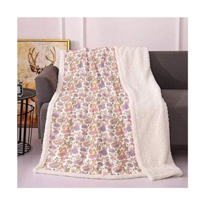 "Botany Sherpa Blankets 60""X80"",Peony Bouquets Pastel Soft Tones Feminine Spring Flowers Romantic Summer Season Lightweight Fluffy Flannel,Sh"