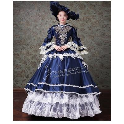 豪華な女王 ロングドレス ステージ衣装人気お姫様ドレス プリンセスライン 公爵夫人 宮廷服  ティアラ プリンセスラインお姫様ドレス