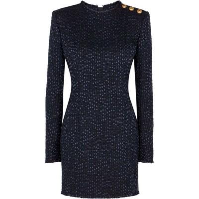 バルマン Balmain レディース パーティードレス ワンピース・ドレス Midnight blue boucle tweed mini dress Blue