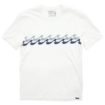 FAHERTY BRAND (ファリティ ブランド) Endless Peaks オーガニックコットン Tシャツ ガーメントダイ ホワイト メンズ