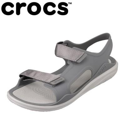 クロックス crocs 206527 レディース | サンダル | 軽量 軽い | クッション性 | フィット ピッタリ | ライトグレー×ホワイト