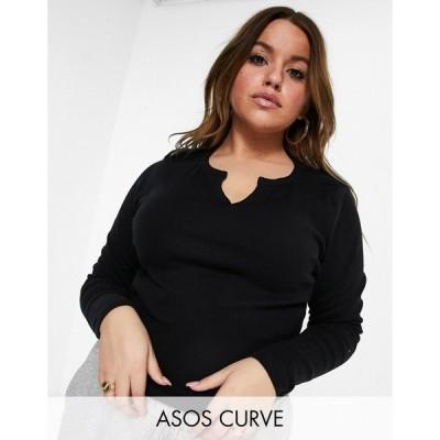 エイソス ASOS Curve レディース 長袖Tシャツ トップス ASOS DESIGN Curve long sleeve slim fit t-shirt with notch neck in black ブラック