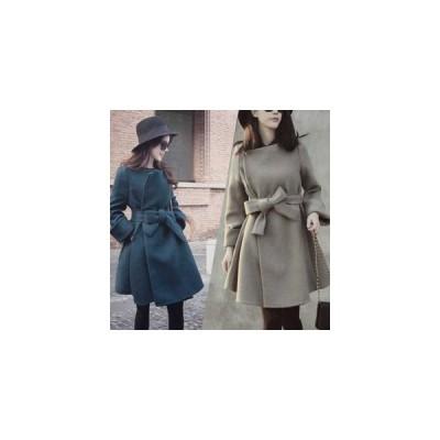秋冬新商品 前結び リボン コート ネイビー グレー レディース アウター 防寒 寒さ対策 女性 ロング丈 羽織 上着 ロング丈 シンプル 万能 長