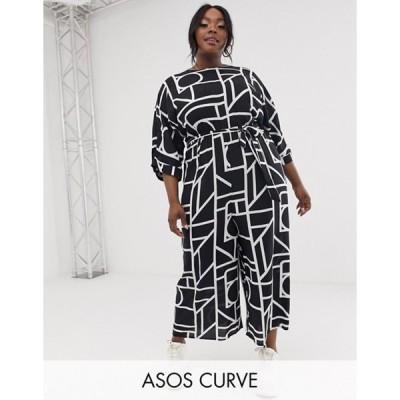 エイソス レディース ワンピース トップス ASOS DESIGN Curve Tie Waist Jumpsuit in mono geo print