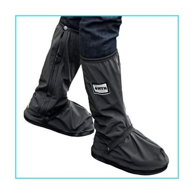 USHTH Black Waterproof Rain Boot Shoe Cover with reflector (1 Pair) (Black-M(11.2inch))【並行輸入品】
