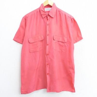 L/古着 半袖 シャツ 90s ロング丈 シルク ピンク系 21mar29 中古 メンズ トップス