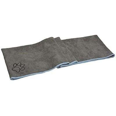 マイクロ ファイバー 超吸水 ペット用 タオル 犬 猫 体拭き 40x100cm グレー(グレー, 40cmx100cm ポケット付き)
