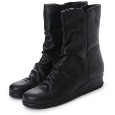 エスプレッソ Espresso 楽ちん 柔らかレザー シャーリングデザインショートブーツ (ブラック)