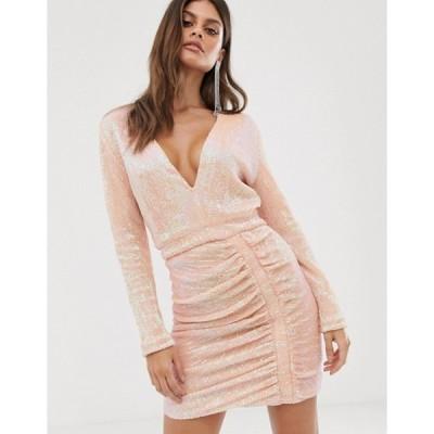 ラビッシュアリス レディース ワンピース トップス Lavish Alice sequin embellished ruched side mini dress in pink