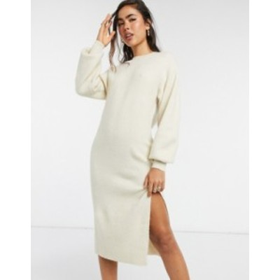 エイソス レディース ワンピース トップス ASOS DESIGN crew neck midi dress with volume sleeve Cream