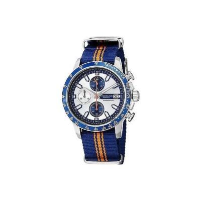 ストゥーリングオリジナル 腕時計 Stuhrling 678 02 メンズ Monaco クォーツ クロノグラフ ブルー&オレンジ キャンバス ストラップ 腕時計