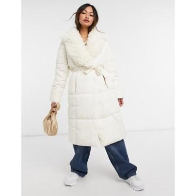 ヴェロモーダ レディース コート アウター Vero Moda padded coat with teddy collar in cream