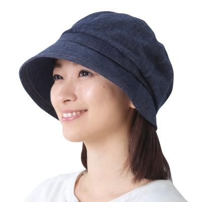 国産 岡山「児島デニム」のすっぴん小顔クロッシェ帽子 インディゴブルー