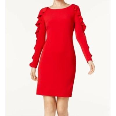 Calvin Klein カルバンクライン ファッション ドレス Calvin Klein NEW Red Womens Size 12 Ruffle Seamed Stretch Sheath Dress