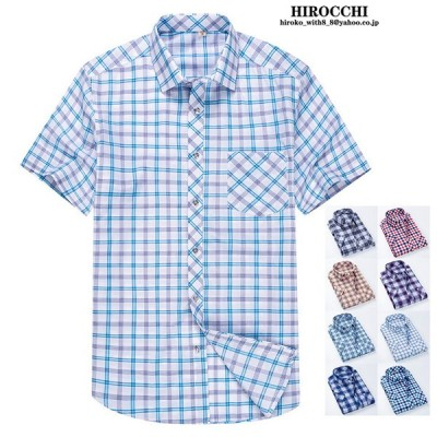 チェックシャツ メンズ 半袖シャツ カジュアルシャツ ビジネス シャツ トップス スリム 通勤 夏