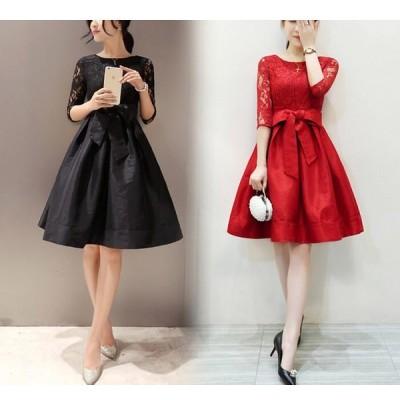 ワンピース 結婚式 パーティードレス ドレス スカート オールインワン レディース 大きいサイズ 赤 884