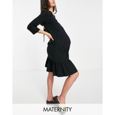 ママリシャス Mama.licious レディース ワンピース Mamalicious Maternity T- Shirt Dress With Over The Bump Tie And Tie Back Detail In Black