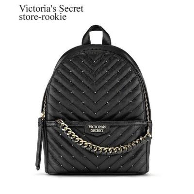 ヴィクトリアシークレット スタッズ Vキルティング スモールシティー リュックサック Victoria's Secret  小さめ/ブラック