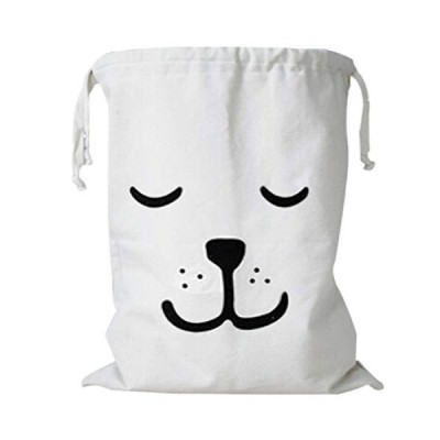UTST ドッグフェイス ランドリー バスケット おもちゃ 体操着 収納 巾着 袋 折りたたみ 特大 タイプ (白笑犬, 65×45)