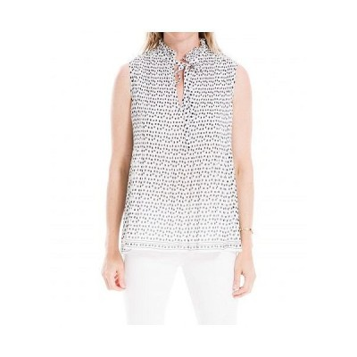 MAXSTUDIO レディース 女性用 ファッション ブラウス Sleeveless Pleated Top - Ivory/Black