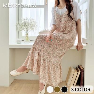 116762 フラワービスチェロングワンピース。3色 [merrybaum] 送料0円! 大人可愛いデイリールック。韓国ファッションNo.1