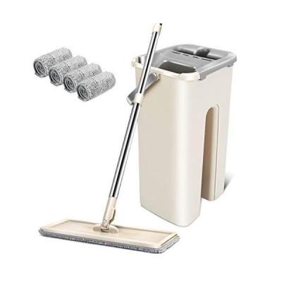 モップ フロアモップ 水拭きモップ バケツ付き 手洗い不要 モップバケツセット 乾湿両用 腰曲げず モップ絞り器 水切りモップ 床掃除 部屋掃除 掃除