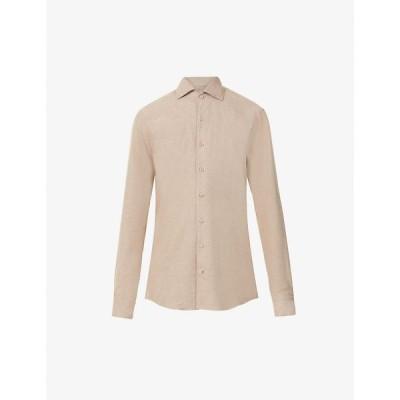 ステンストローム STENSTROMS メンズ シャツ トップス Geometric-pattern regular-fit cotton shirt BEIGE
