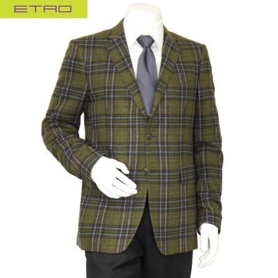 ETRO(エトロ)/メンズ/テーラードジャケット/ウール/グリーン/チェック/サイズ(54)