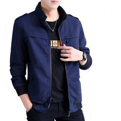 ジャケット メンズ 秋冬 カジュアル ビジネス ジャケットコートメンズ 上着 防寒防風 おしゃれ 無地 トップス おおきいサイズ Blue-2XL