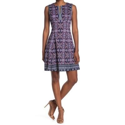 マギーロンドン レディース ワンピース トップス Sleeveless Jewel Box Scuba Dress NAVY/LAV