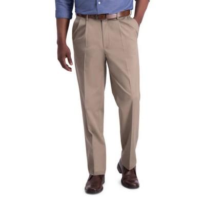 ハガー メンズ カジュアルパンツ ボトムス Men's Iron Free Premium Khaki Classic Fit Pleat Front Hidden Comfort Waistband Casual Pants