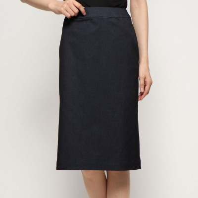 リネーム Rename デニム調シンプル スリットスカート (ブラック)