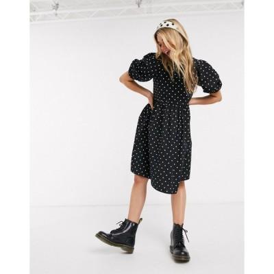 モンキ ミディドレス レディース Monki Melody cotton poplin polka dot smock dress in black エイソス ASOS マルチカラー