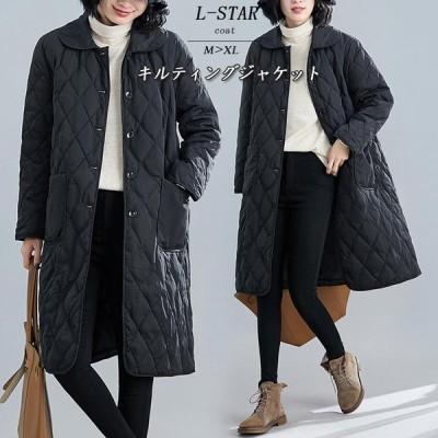 コート レディース キルティングジャケット ジャケット ロングコート アウター 秋 冬 秋服 中綿 大きいサイズ ゆったり 黒 ブラック 40代