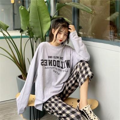 春 秋 レディース 長袖 長袖Tシャツビッグtシャツ オーバーサイズ ビッグシルエット ゆったり   薄手 ラフ カジュアル かわいい ロゴ 女性  韓国