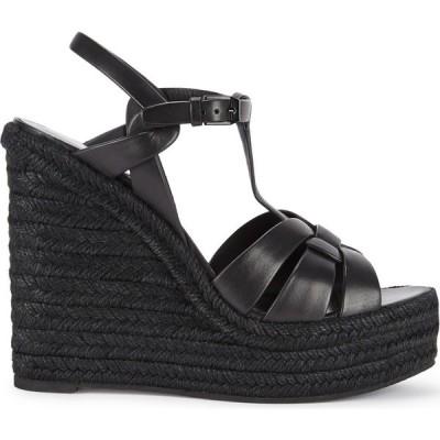 イヴ サンローラン Saint Laurent レディース サンダル・ミュール ウェッジソール シューズ・靴 Tribute 125 Black Leather Wedge Sandals Black