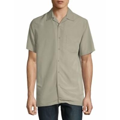 サックスフィフスアベニュー メンズ カジュアル ボタンダウンシャツ Short-Sleeve Camp Button-Down Shir