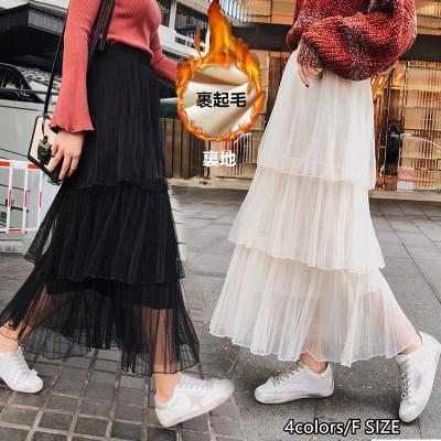 2020年秋冬新作プラスベルベットメッシュプリーツAラインスカートファッションケーキスカート気質ハイウエストスリムスカート